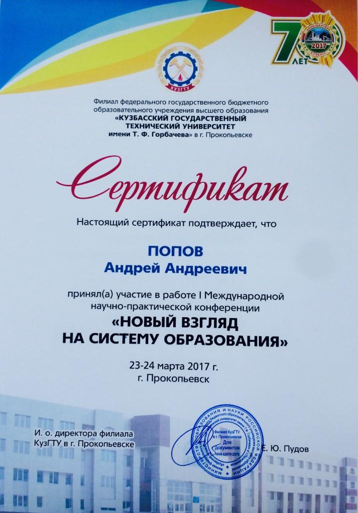 Сертификат Попов А А